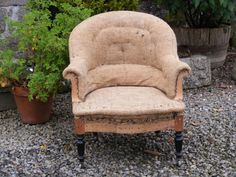 Hessian Tub Chair with casters cirica 1880. @SusanOsbourne  Height - 80cm Width - 74cm Depth of seat - 50cm.  SOLD