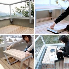 If you truly have no space on your deck or patio, having a place to sit down and relax can present a challenge. Designer Sandy Lam came up with a way to get around that problem: stowaway furniture that pulls right out of the deck itself. When not in use, it folds up to be totally hidden from view.
