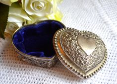 Box Vintage Heart Shaped Trinket Box Antiqued Silver Jewellery Box