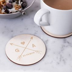 Personalised Arrows Wooden Coasters  by CloudsandCurrents on Etsy