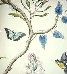 Clementine Wallpaper A printed wallpaper featuring charcoal and yellow hummingbirds, blue butterflies and flowing exotic flora with dusky pink flowers on a cream background.
