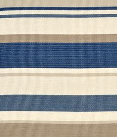Dune Point Stripe Horizon Fabric - Maritime Blue and neutral stripes Chair or Throw pillow #Fabric