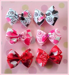 Swirl Hearts Bitsy Bows 3 pairs by Flowers4Emily on Etsy