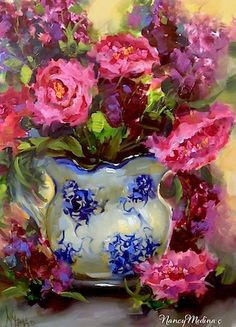 Artists Of Texas Contemporary Paintings and Art - Dreams to Come Peonies by Floral Artist Nancy Medina