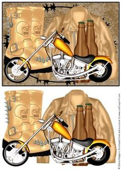 Motorbike Jacket Boots and Beer on Craftsuprint - Add To Basket!