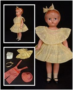 "VINTAGE Effanbee WEE PATSY Doll Composition Original Clothing 5-3/4"" Tall Near Mint Signed c.1935"