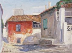 the red house in plaka_armeno mattioli Create Drawing, Greece, Landscape, Drawings, Painting, Decor, Athens, Hair, Beauty