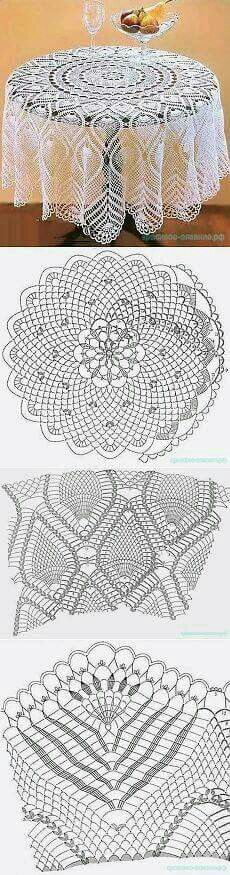 mantel crochet round table with pineapple ending by beautiful leaves Table runners and tablecloth Crochet Tablecloth Pattern, Crochet Bedspread, Crochet Doily Patterns, Crochet Mandala, Crochet Motif, Crochet Doilies, Crochet Lace, Crochet Ideas, Filet Crochet
