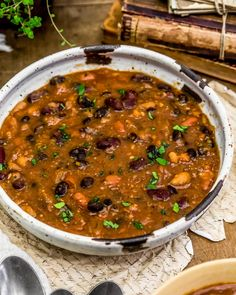 Easy Calico Bean Soup - Monkey and Me Kitchen Adventures Curry Recipes, Chili Recipes, Diet Recipes, Vegan Recipes, Vegan Meals, Cooking Recipes, Soup Recipes, Calico Beans, Vegan Party Food