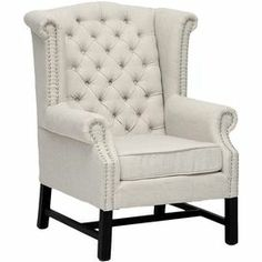 "Tufted wingback club chair with nailhead trim and a birch wood frame.   Product: Chair    Construction Material: Birch wood, polyurethane foam and linen     Color: Beige   Features:  Nailhead trim    Button-tufted backrest    Dimensions: 42"" H x 27"" W x 31"" D"