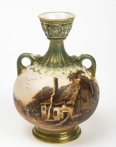 Royal Worcester Hand Painted Rural Thatched Cottage Vase - Edwardian c.1908 #Vase