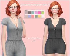 Sims 4 CC's - The Best: Short Buttoned Romper for Females by Mysimlifefou