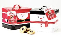 Knott's Berry Farm Christmas Cookie Tin (Sold Out) - This collectible Knott's Berry Farm cookie tin includes 14 oz. of gourmet chocolate dipped raspberry shortbread cookies. Santa Tin is still available. Sorry, the Snowman Tin is sold out. Christmas Chocolate, Christmas Cookies, Box Packaging, Packaging Design, Farm Cookies, Cookie Tin, Shortbread Cookies, Chocolate Dipped, Crates