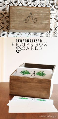 Personalized Recipe Box + Recipe Cards, How to DIY a Personalized Recipe Box with Recipe Cards. A great Personalized Gift Idea for a wedding, bridal shower, Christmas and more! by @CraftivityD