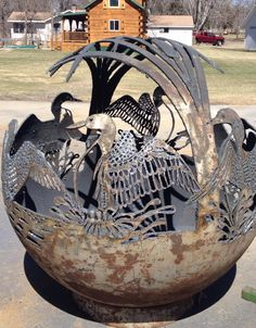 """Exceptional """"concrete fire pit"""" information is available on our internet site. Read more and you wont be sorry you did. Fire Pit Sphere, Fire Pit Art, Metal Fire Pit, Concrete Fire Pits, Backyard Seating, Fire Pit Backyard, Backyard Landscaping, Backyard Ideas, Outside Fire Pits"""