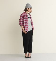 【relacher】ヘリンボンシャーリングチェックゆるシャツ