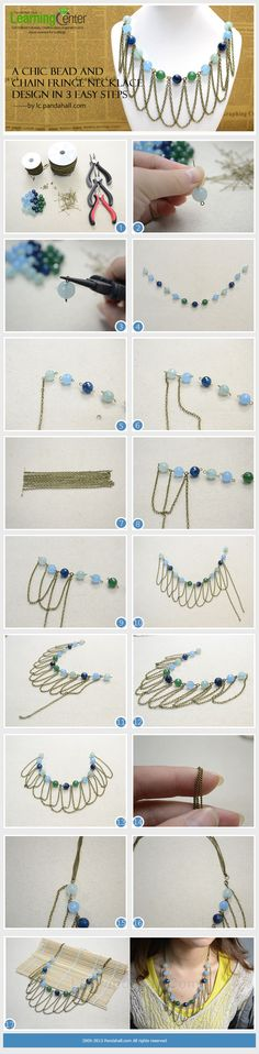A Chic Bead and Chain Fringe Necklace Design in 3 Easy Steps