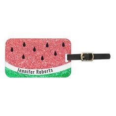 faux glitter watermelon design bag tag