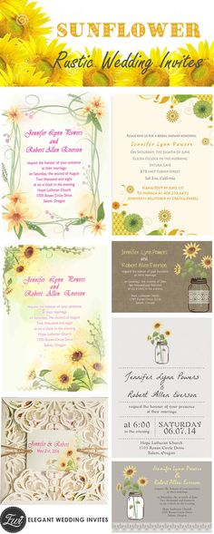 popular rustic sunflower wedding invitations lists