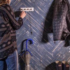 "MyWoodWall ""Blue Ocean"" Peel & Stick wood wall panels set in a herringbone pattern Timber Wall Panels, Timber Walls, Timber Panelling, Wood Panel Walls, Wood Paneling, Stick On Wood Wall, Peel And Stick Wood, Diy Wood Wall, Plasterboard Wall"