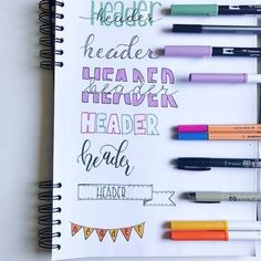 Header ideas bullet journal page