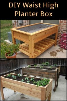 Add this inexpensive waist high planter box to your garden!