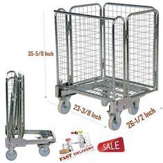 "Cage Cart Steel Foldable Roller Truck Wire Mesh Nestable Storage Office Tool 35"" #Vestil"