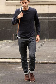 Ryan Gosling wearing White Crew-neck T-shirt, Grey Jeans, Tan ...