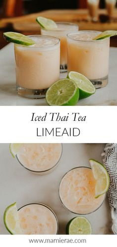 This easy, four-ingredient iced Thai tea limeade is a refreshing non-alcoholic d. This easy, four-ingredient iced Thai tea limeade is a refreshing non-alcoholic drink. I love adding Easy Mocktail Recipes, Drinks Alcohol Recipes, Punch Recipes, Tea Recipes, Yummy Drinks, Easy Mocktails, Dinner Recipes, Non Alcoholic Cocktails, Tea Cocktails
