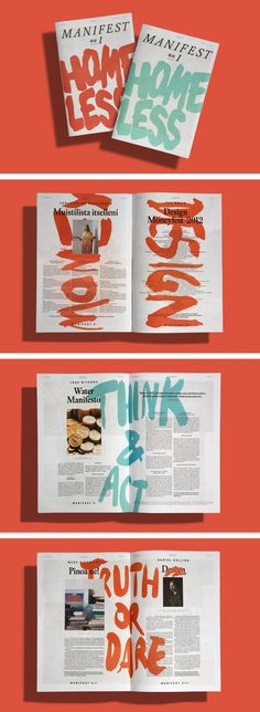 Think & Act - large writing over a page of text. Maybe The Yard Sale blurb