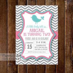 Preppy Chevron Bird Birthday Party Invitation  Gray by MommiesInk, $14.00