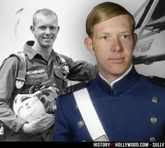 """Chesley """"Sully"""" Sullenberger in his 1973 Air Force Academy senior class photo (right) and as an Air Force fighter pilot (left). See more pics of the real people behind the Sully movie characters: http://www.historyvshollywood.com/reelfaces/sully/"""