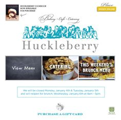 Huckleberry Bakery & Cafe ~ Catering
