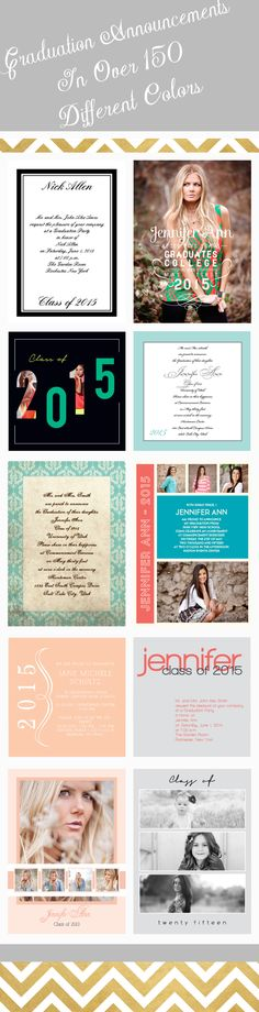 Over 100 different graduation announcements and graduation invitations that can be instantly personalized online with your school color and your own wording.
