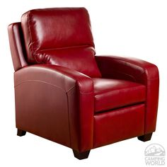 Brice Bonded Leather Recliner, Red