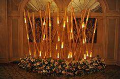 idée de déco lumineuse avec du bambou