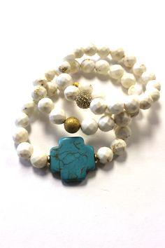 Swara Jewelry: Cross Bracelet Set, White