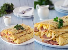 Herb Crepes with Eggs, Ham, Swiss and Browned Butter: Holy Crepe! 30 Savory and Sweet Crepe Recipes via Brit + Co. Breakfast Crepes, Savory Breakfast, Mexican Breakfast, Breakfast Sandwiches, Breakfast Bowls, Breakfast Ideas, Crepe Recipes, Brunch Recipes, Pancake Recipes
