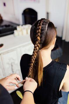 Autumn hair: The center braid pony