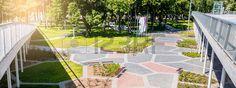 Parco moderno con pavimentazione e un sacco di spazio verde  Archivio Fotografico