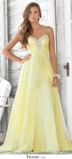 yellow prom dress, long prom dress,chiffon prom dress