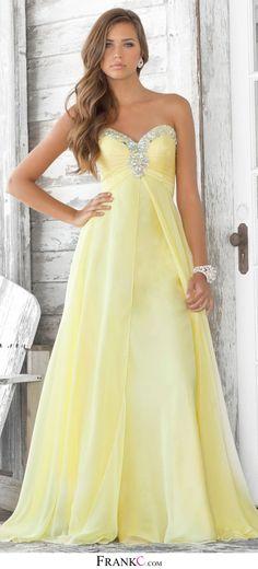 yellow prom dress, long prom dress,chiffon prom dress