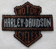 Beaded Harley-Davidson logo made with size 11 toho treasure beads #Handmade by Hi-D