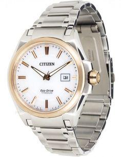 Montre Citizen Titane Eco-Drive BM6934-56A, boîtier et bracelet en titane, cadran blanc.