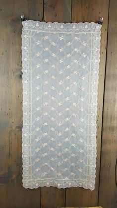 Vintage Embroidered Sheer Dresser Scarf or Table Runner, Floral, Ivory Organza with Soft Pink and Ecru Embroidery, Scalloped Edge by GreenLeavesBoutique on Etsy