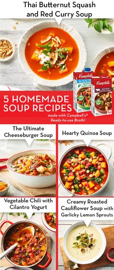 Enjoy our homemade soup recipes that are easy to make and full of flavour. Warm up by making these classic homemade soup recipes. Slow Cooker Recipes, Crockpot Recipes, Soup Recipes, Dinner Recipes, Cooking Recipes, Healthy Recipes, Recipies, Chef Recipes, Dinner Ideas