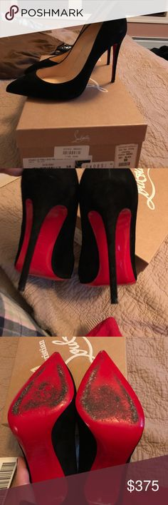 Christian Louboutin Suede Pumps CL Suede pumps. Size 38, know your size as this shoe runs very true to size and narrow. Black suede. Heels perfect. Purchased from bergdorf Goodman for 675 8/29/16. Worn three times. Comes with bag and box. Christian Louboutin Shoes Heels