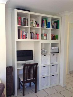 15 Super Smart Ways to Use the IKEA Kallax Bookcase. It requires a little extra. - Ikea DIY - The best IKEA hacks all in one place Ikea Hack, Kallax Ikea, Ikea, Home Decor, Home Diy, Bookshelf Desk, Wall Unit, Ikea Desk, Shelving