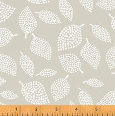 Lotta Jansdotter - Nopp Leaves in Mist Grey - Quilting Cotton - Mormor Collection - 1/4 Yard