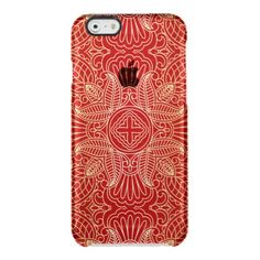 gold cross,floral pattern,red,beautiful,antique, uncommon clearly™ deflector iPhone 6 case